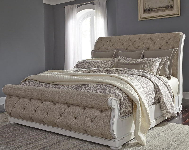 Liberty Furniture Abbey Park Upholstered King Sleigh Bed in Antique White image