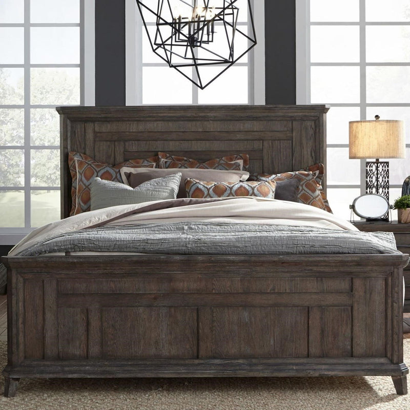 Liberty Furniture Artisan Prairie King Panel Bed in Wirebrushed aged oak with gray dusty wax image