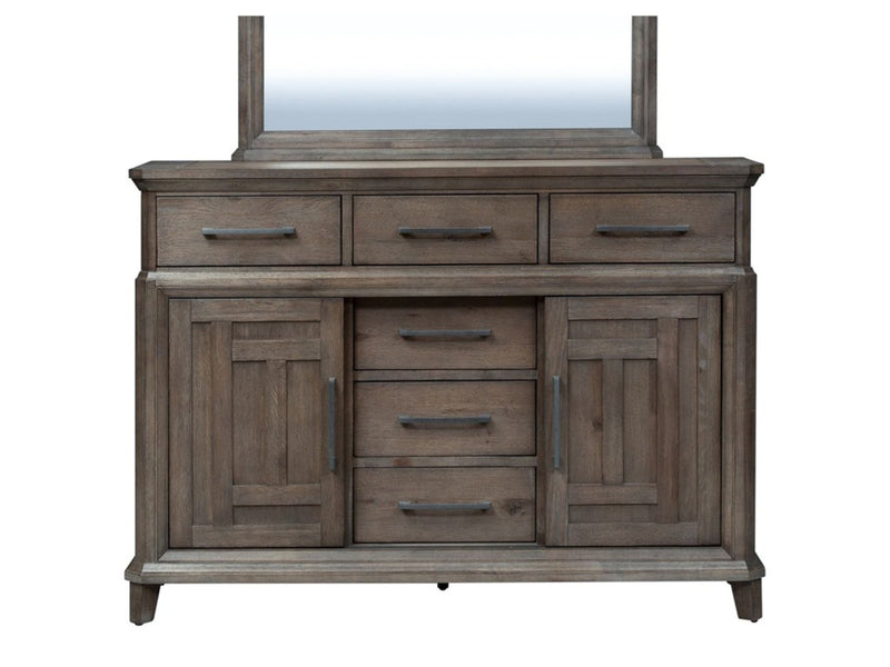 Liberty Furniture Artisan Prairie Drawer Chesser in Wirebrushed aged oak with gray dusty wax 823-BR32 image