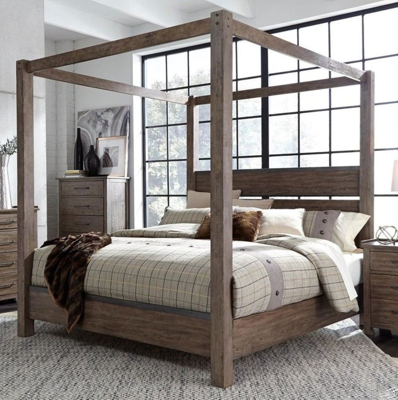 Liberty Furniture Sonoma Road Queen Canopy Bed in Weather Beaten Bark image