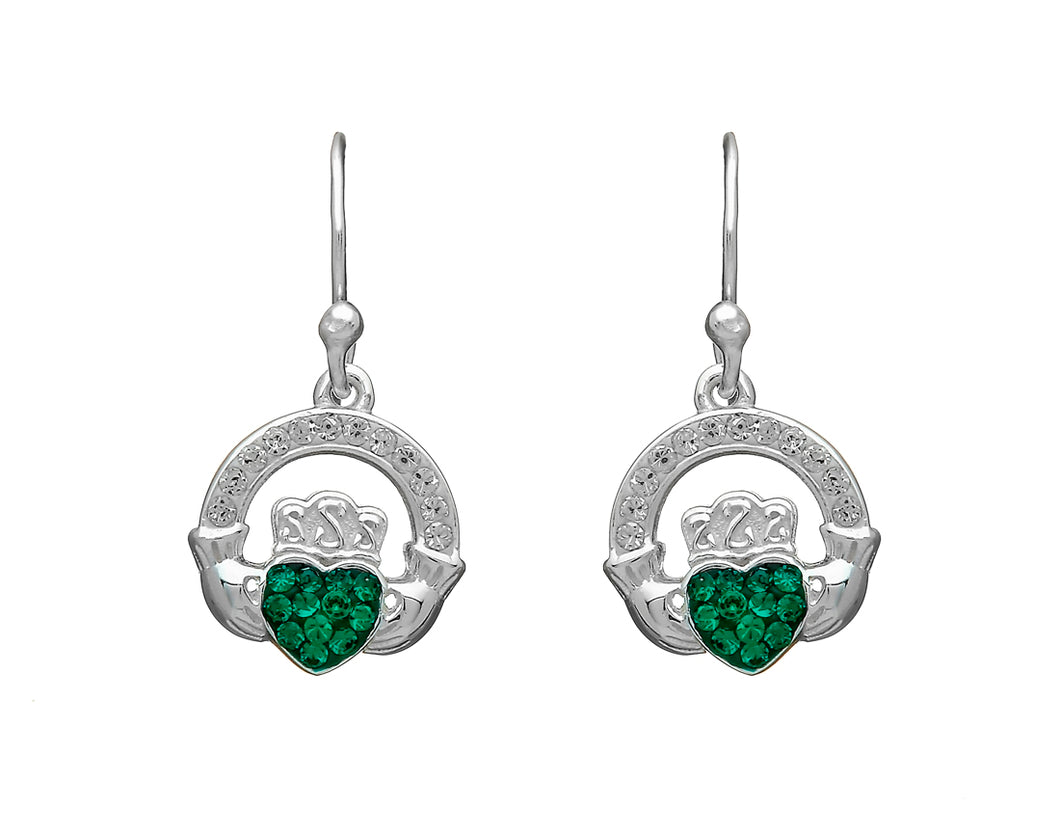 CLADDAGH DROP ER WITH GREEN CZ STONES