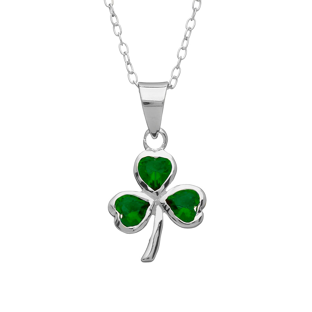 GREEN GLASS SHAMROCK PENDANT
