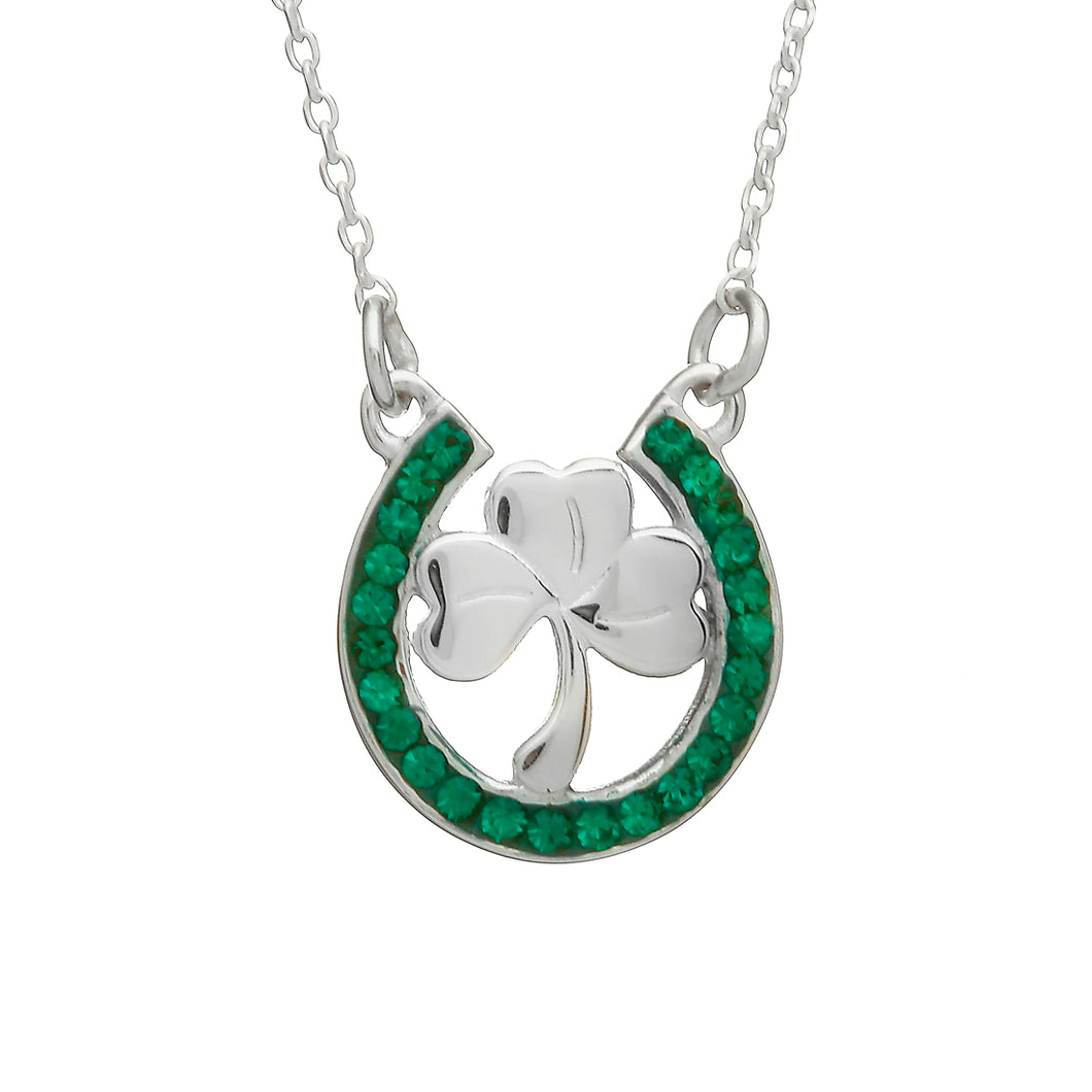 SHAMROCK HORSESHOE WITH GREEN STONES