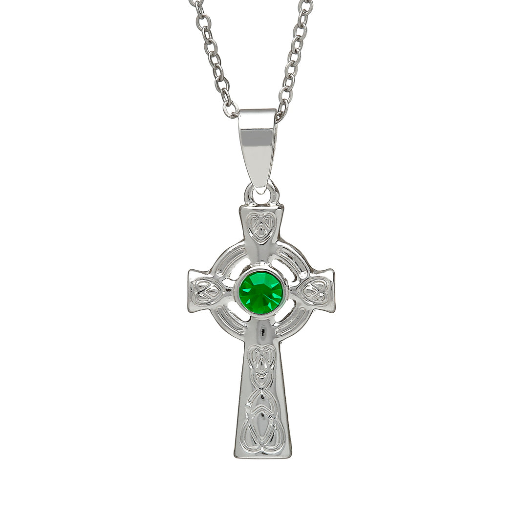 SILVER PLATE CELTIC CROSS WITH STONE