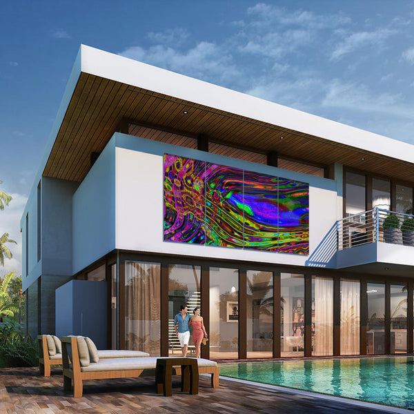 Large artwork hanging on house over picturesque outdoor pool