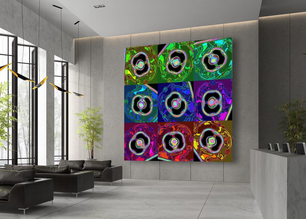 Large artwork featured in lobby of building