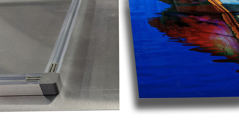 Example of a float frame on the back of a large metal print