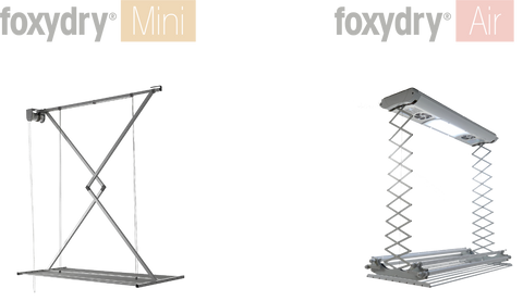 ceiling models, ceiling drying racks, foxydry mini and foxydry air