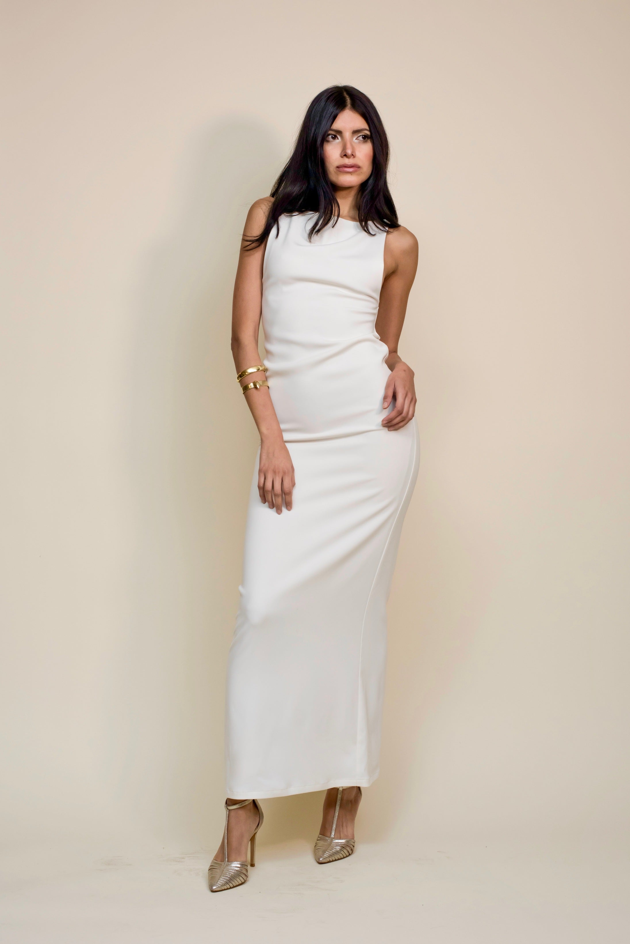 Essential Crepe Silk Dress |Ivory|