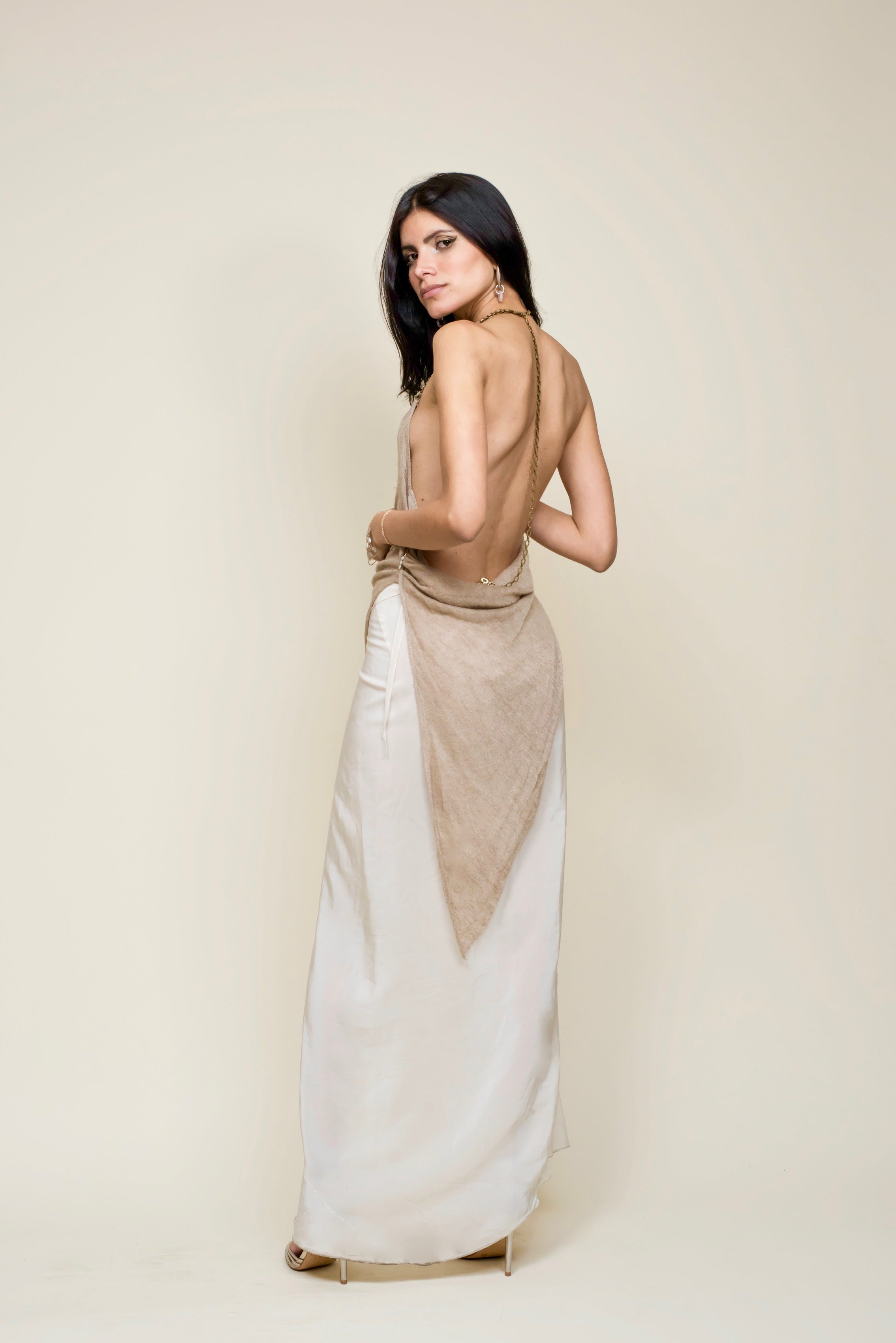 Silk Crepe Wrap Bias Skirt