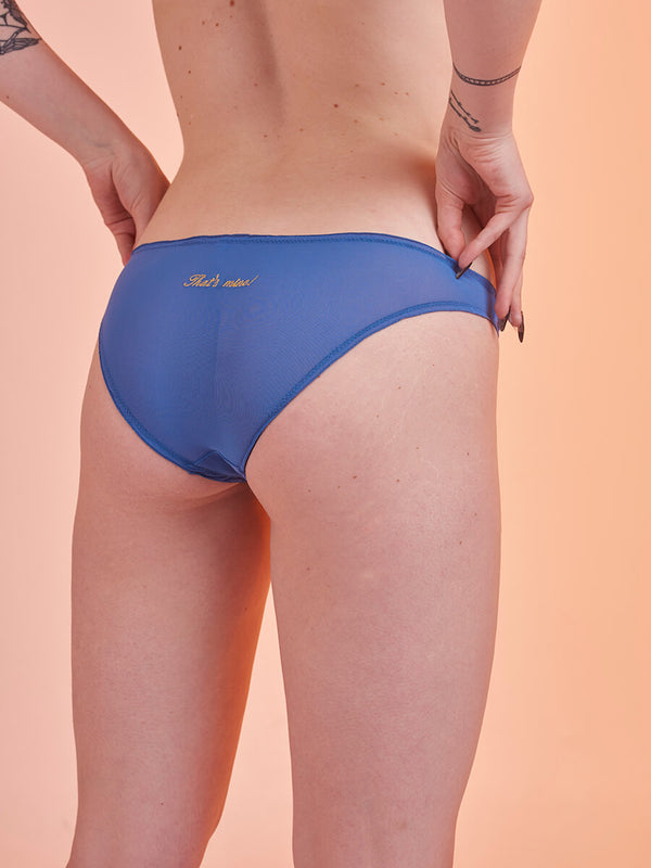 "Lover Knickers in Tulle ""That's mine"" Blue"