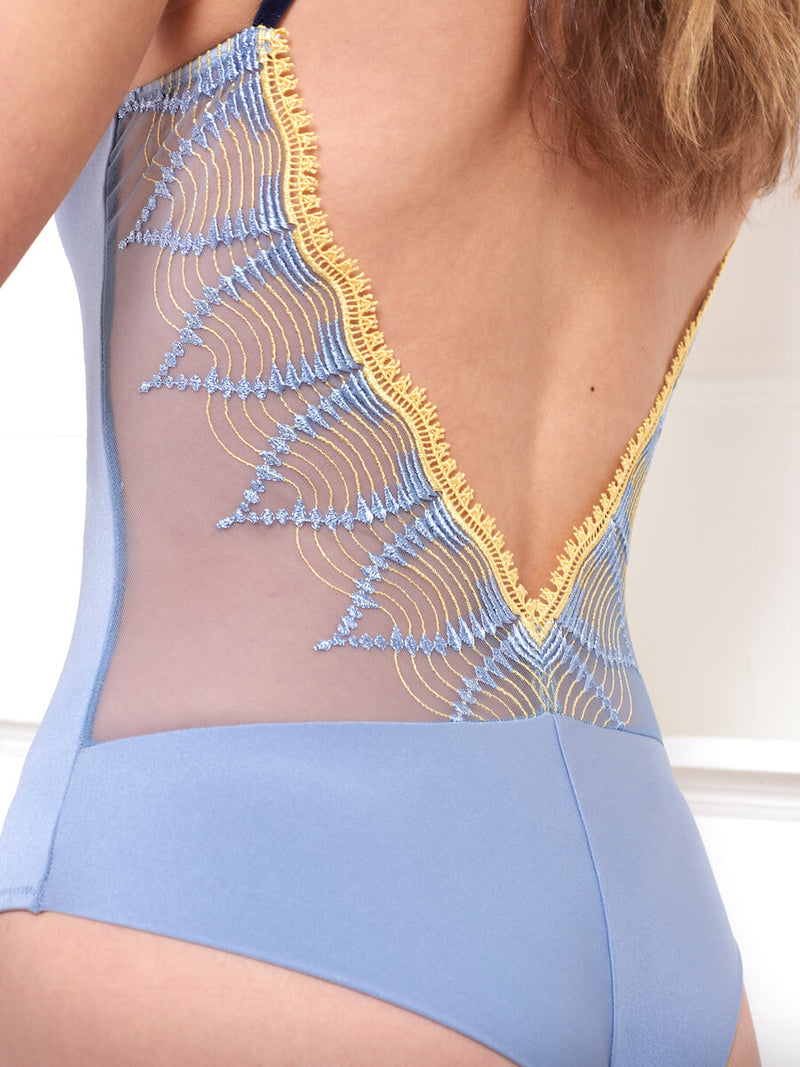 Bodysuit in Lycra and Embroidered Tulle Mojito