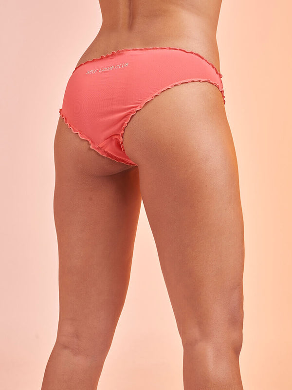 "Lover Knickers in Tulle ""Self Love Club"" Coral"