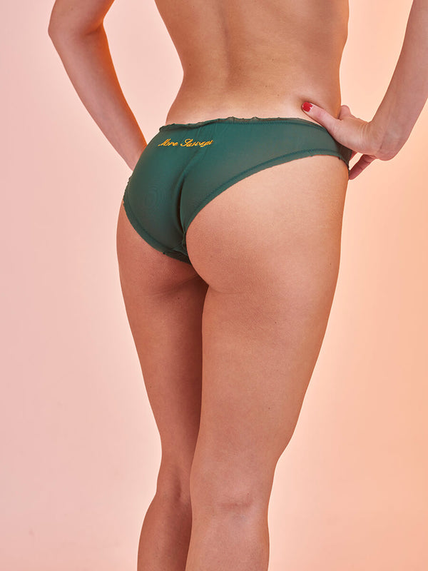 "Lover Knickers in Tulle ""More Sauvage"" Dark Green"