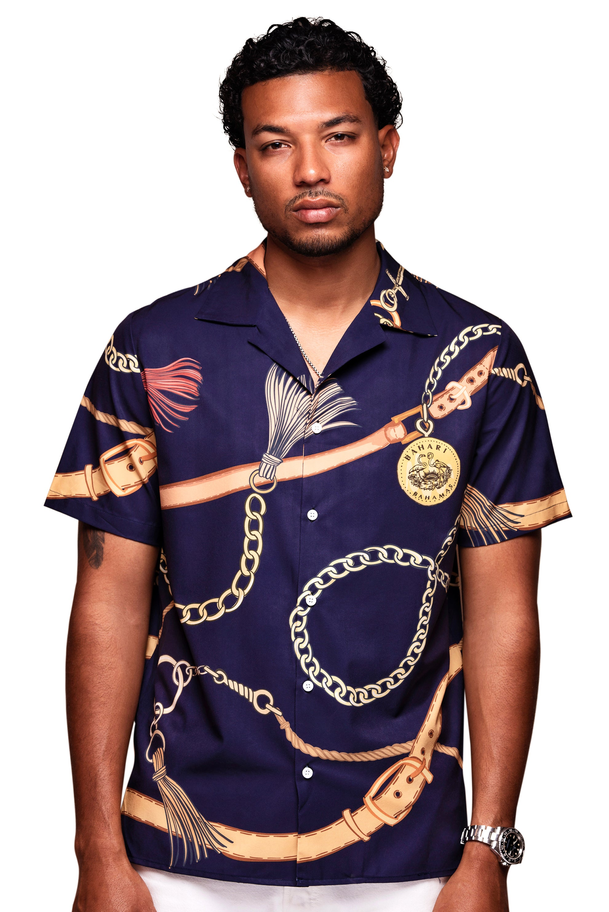 The Medallion Button Up- Navy