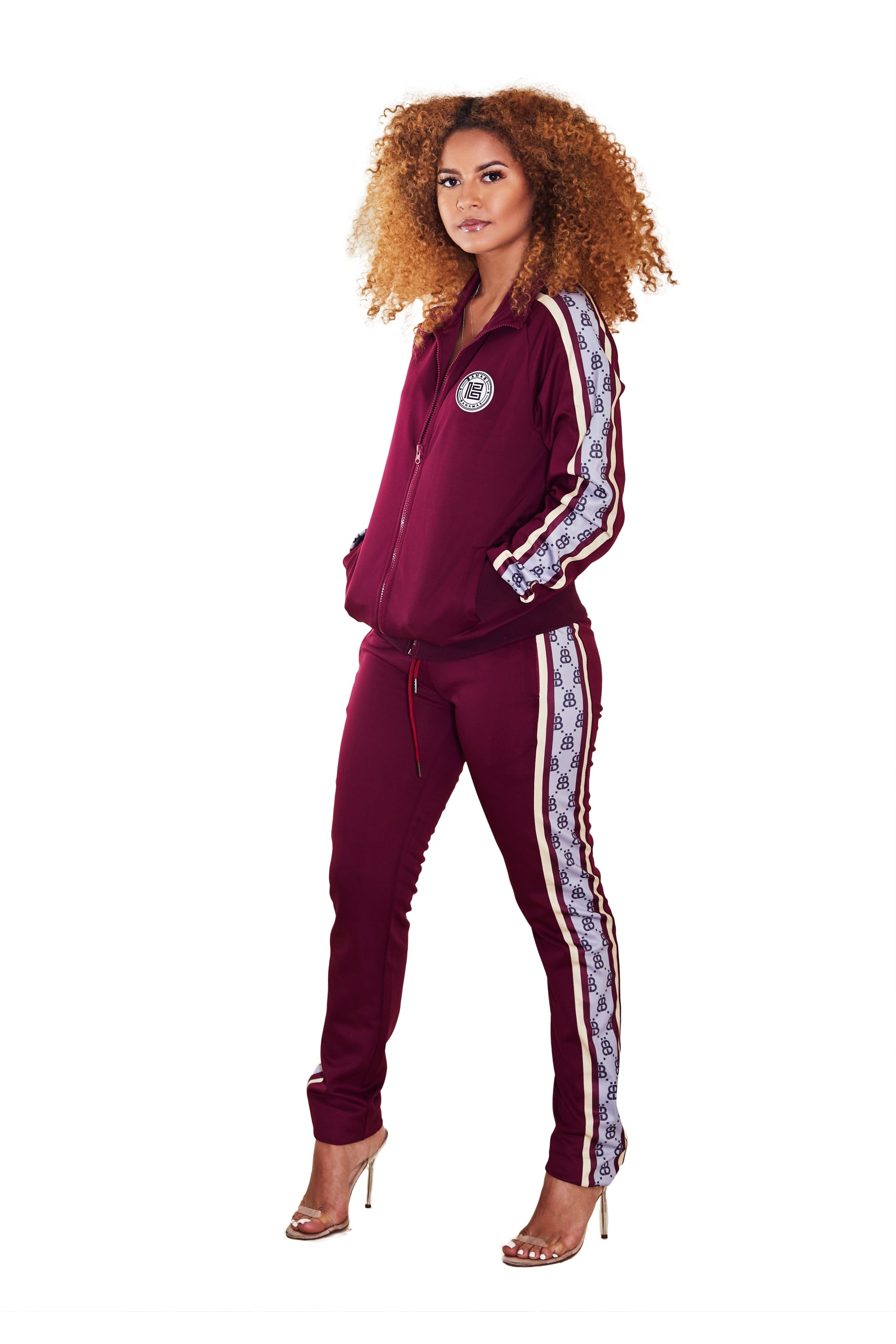 THE MONOGRAM TRACK JACKET- BURGUNDY