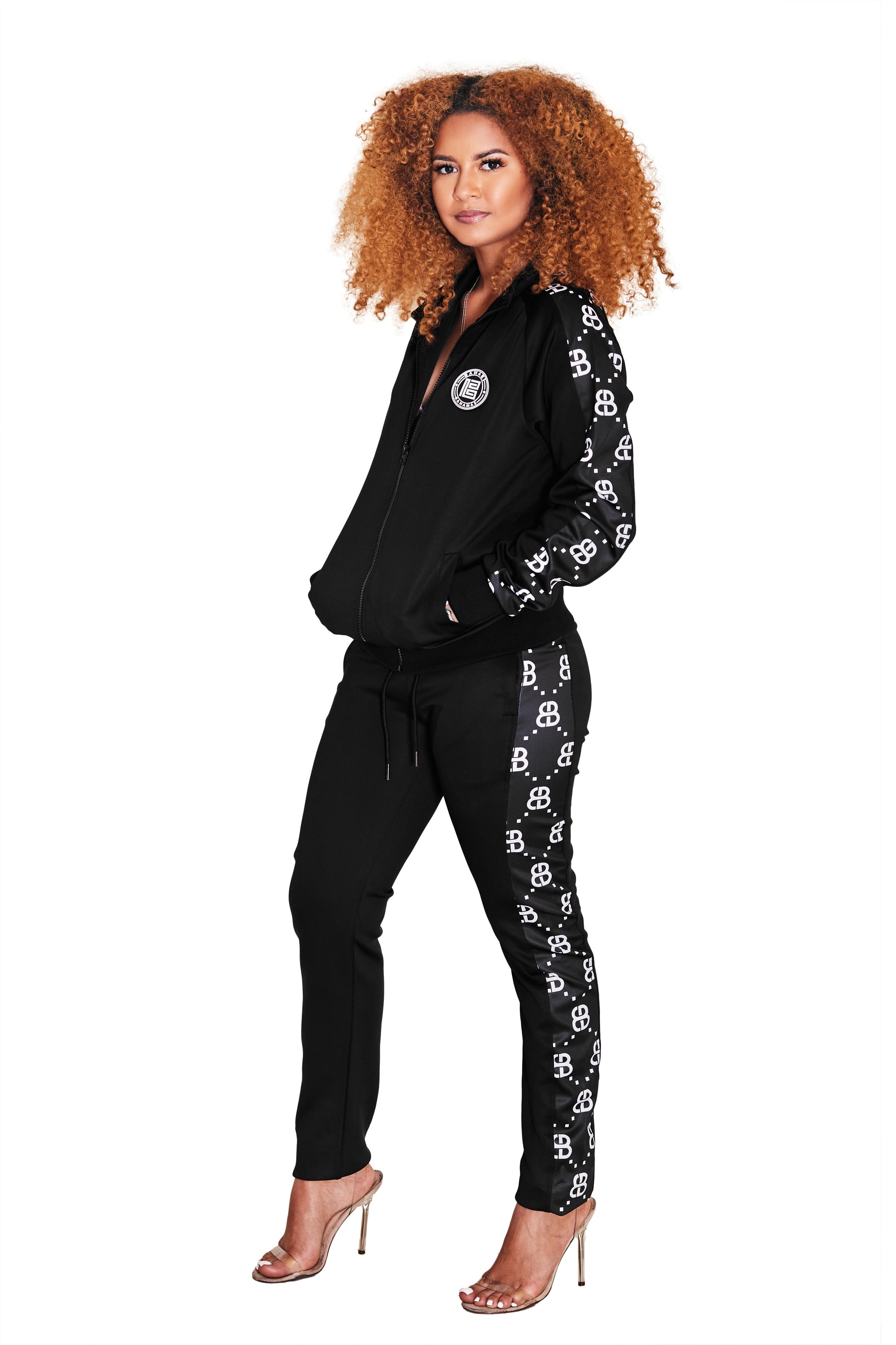 THE MONOGRAM TRACK PANTS- BLACK