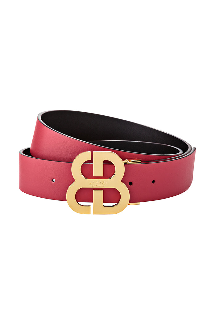 Reversible Monogram Belt- Red & Black