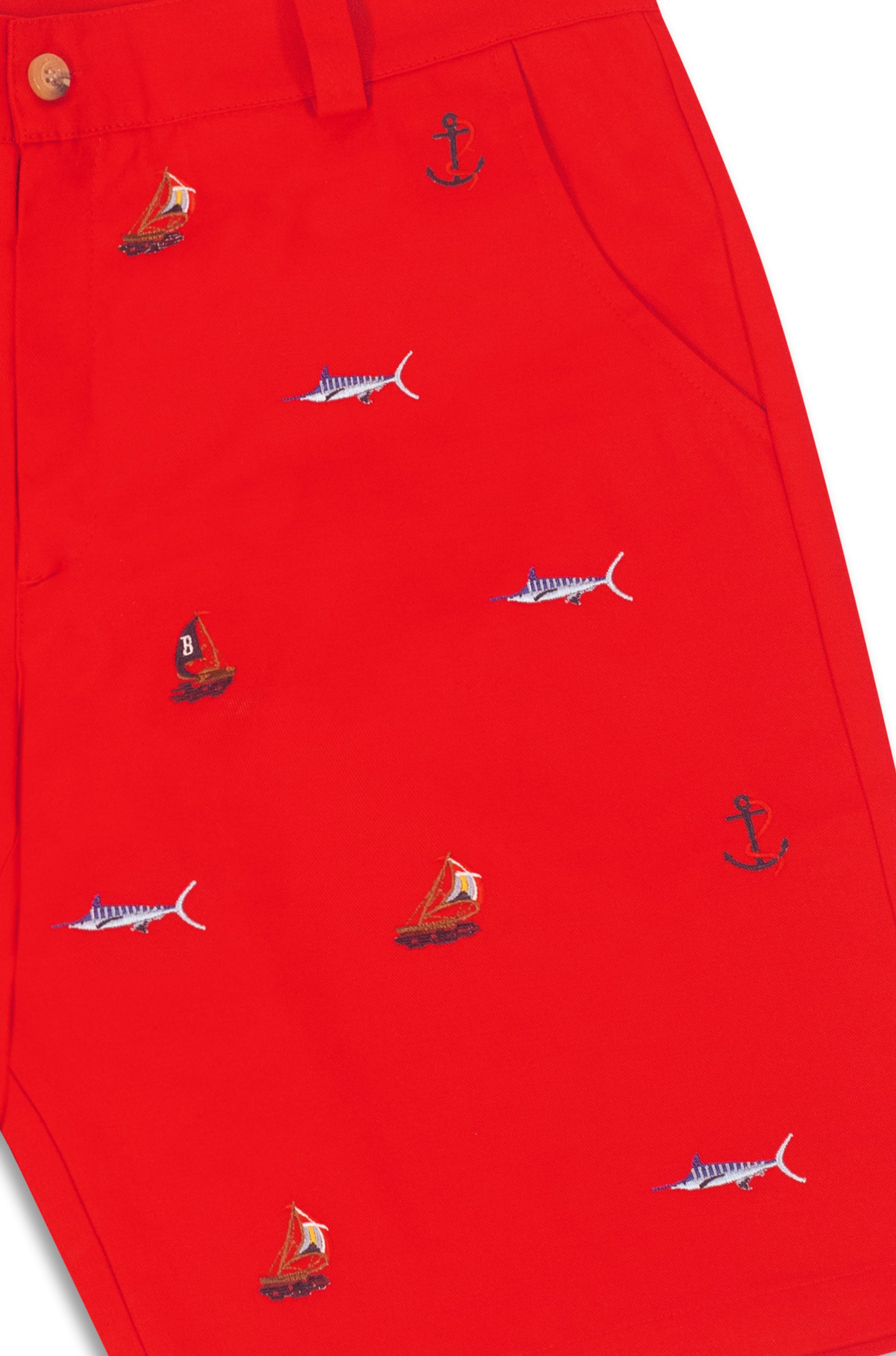 THE REGATTA EMBROIDERED SHORTS- RED