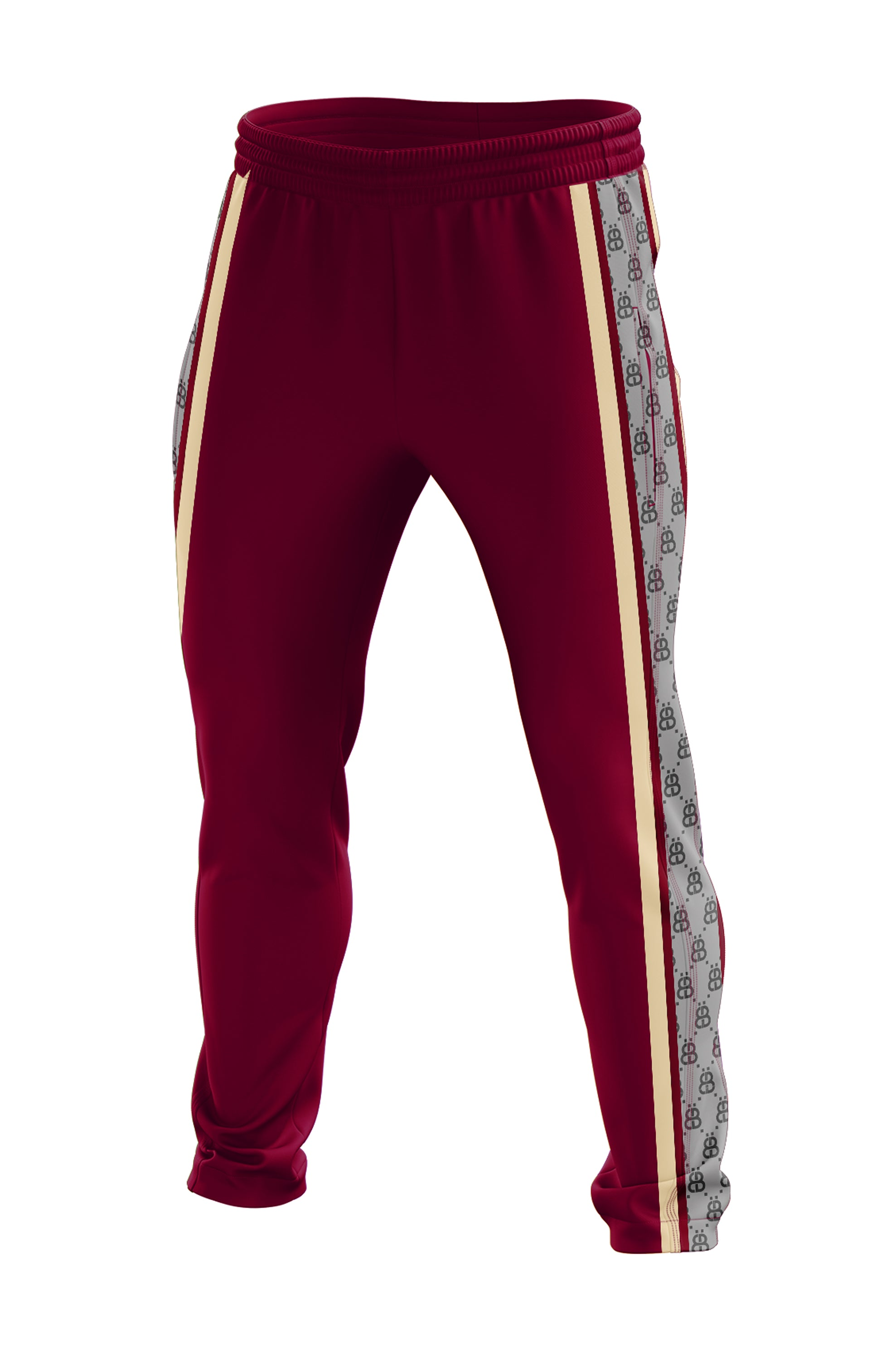 THE MONOGRAM TRACK PANTS- BURGUNDY