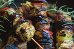 Italian chicken skewers with peppers, lemon and rosemary
