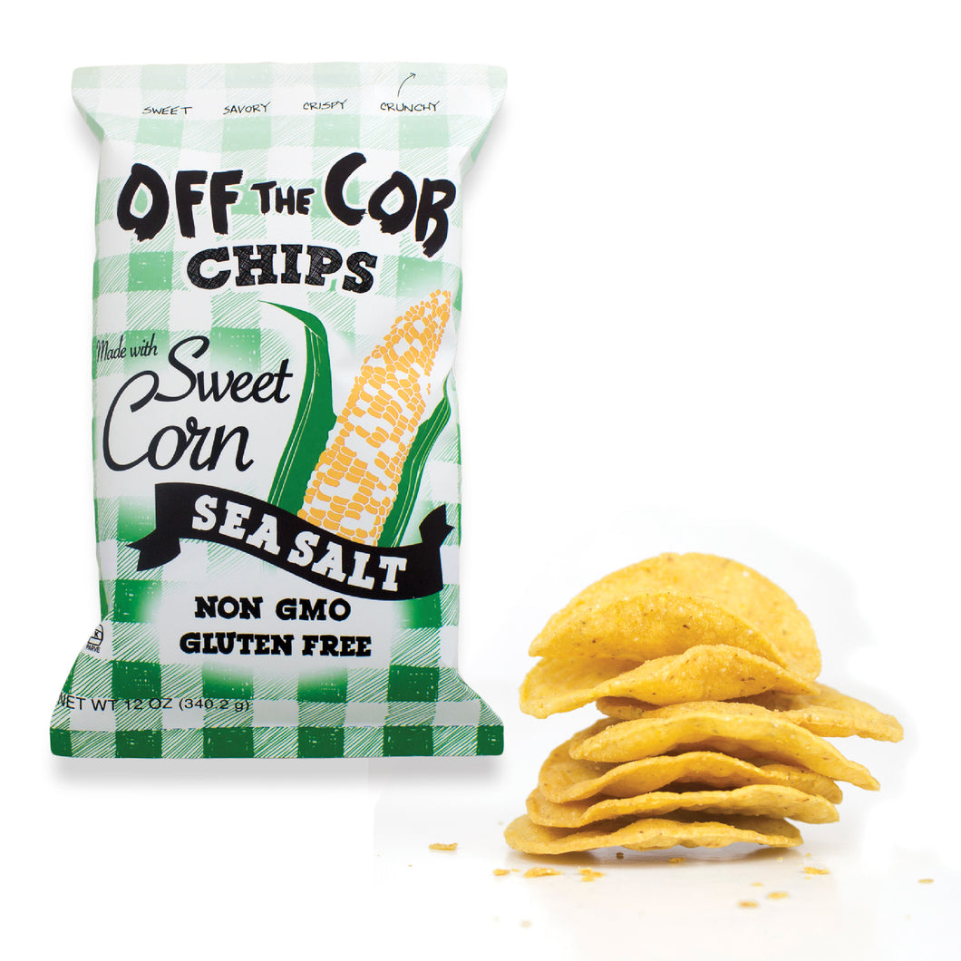 Backordered: 12 pack (12-oz bags) Off the Cob Chips, Sweet Corn & Sea Salt