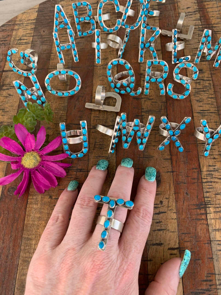 Turquoise Letter Ring
