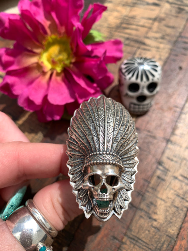 Skull with Headdress Ring Size 8