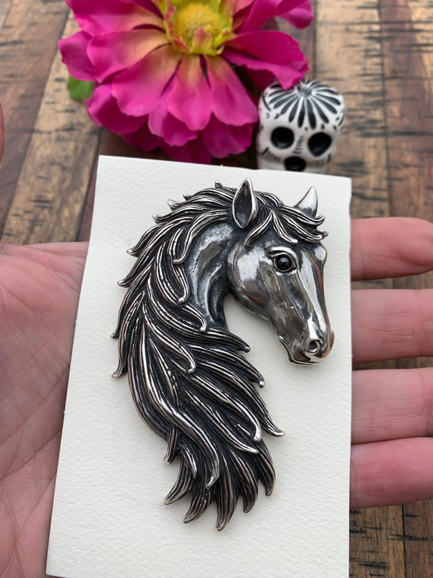 Sterling Horse Head Pin