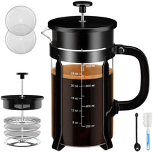 Load image into Gallery viewer, French Press Coffee Maker - 4 Level Filtration System - 304 Grade Stainless Steel - Heat Resistant Borosilicate Glass, 34 Oz, 8 Cup, Black