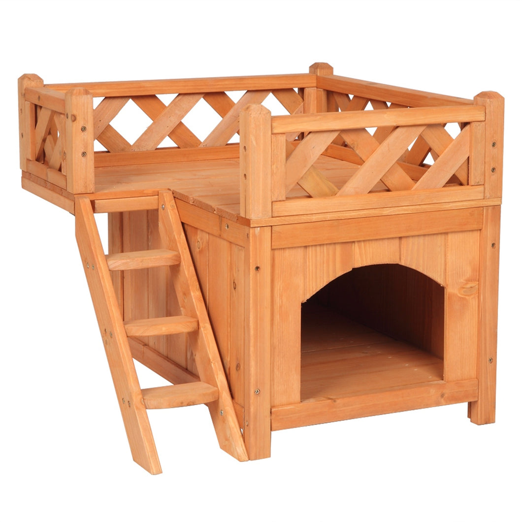 Wooden Cat Pet Home, Pet Products Insulated Cat House Small Living House Kennel with Ladder Platform Pet House Small Dog Indoor Outdoor Shelter