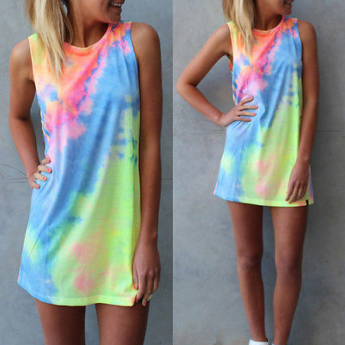 Women's Summer Short Dress  Beach Casual Loose Rainbow Tie-dye Sundress