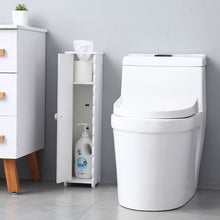 Load image into Gallery viewer, Narrow Cabinet Compact Toilet Tissue Storage Tower Shelf Waterproof Bathroom Linen Cabinet Toilet Paper Side Storage Organizer Corner Floor Cabinet with Doors and Shelves