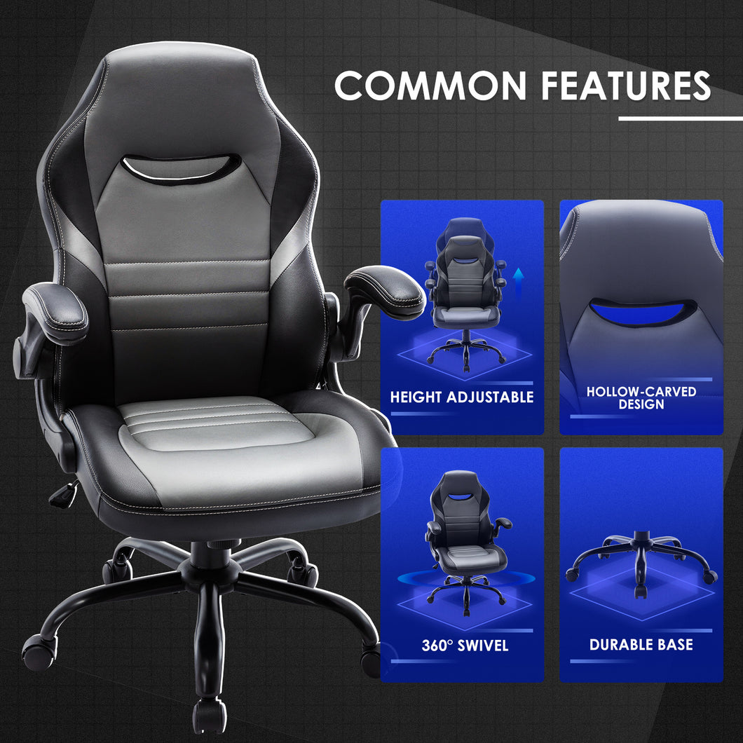 Free Shipping Executive Gaming Chair Racing Computer Office Desk Chair, 360°Swivel Flip-up Arms Ergonomic Design for Lumbar Support