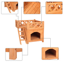 Load image into Gallery viewer, Wooden Cat Pet Home, Pet Products Insulated Cat House Small Living House Kennel with Ladder Platform Pet House Small Dog Indoor Outdoor Shelter