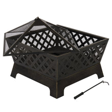 "Load image into Gallery viewer, 26.4"" Fireplace Backyard Wood Burn Heater Steel Bowl Star Patio Fire Pit Outdoor"