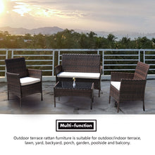 Load image into Gallery viewer, 4 Piece Rattan Sofa Seating Set with Cushions