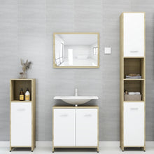 Load image into Gallery viewer, Bathroom Furniture Set White and Sonoma Oak Chipboard