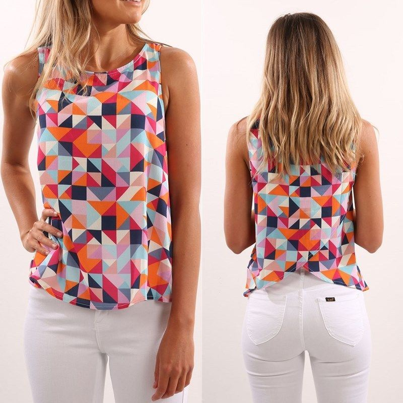 Women's Summer Vest Top Sleeveless Shirt Blouse Casual Tank Tops T-Shirt