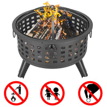 "Load image into Gallery viewer, 26"" Round Metal Lattice Fire Pit Fire Bowl Outdoor BBQ Burn Grill Patio Brazier"