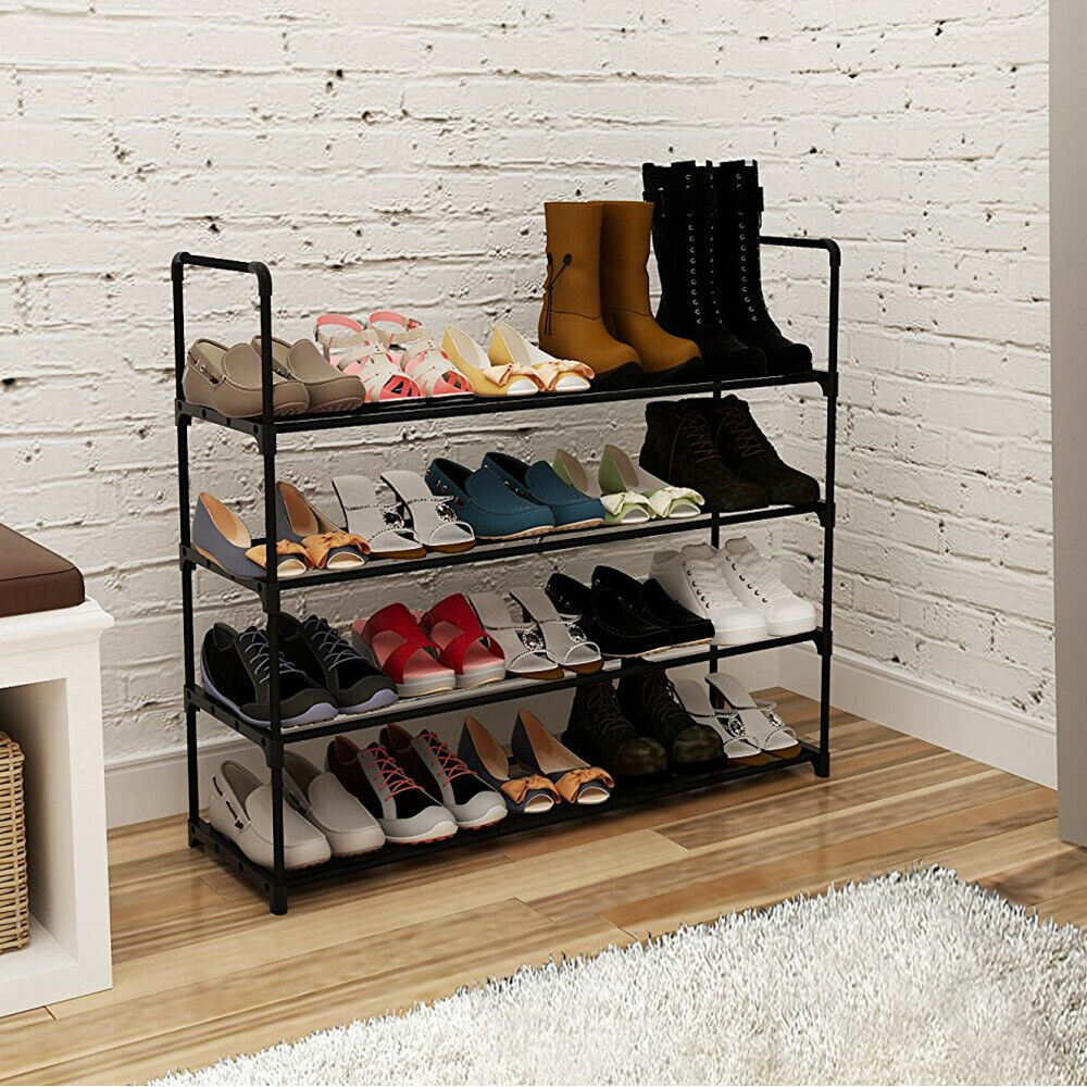 4 Tier Metal Shoe Rack Unit Shelf Closet Organizer Holds 20 Pair Shoes Black Free shipping