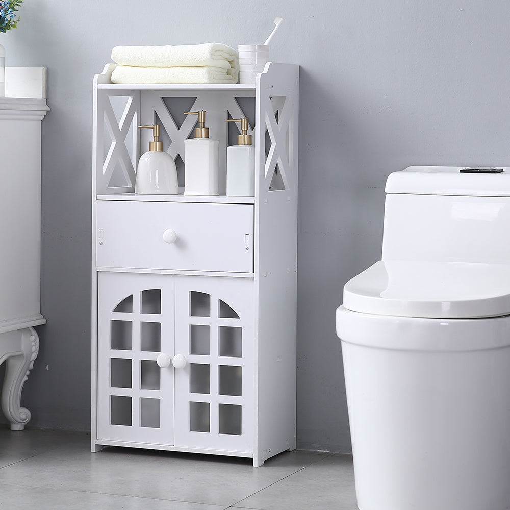 Double Door Compartment with Drawer Shelf 35.5 High PVC (16 x 9.8 x35.5) Small Bathroom Storage Corner Floor Cabinet, Thin Toilet Vanity Cabinet for Paper Holder