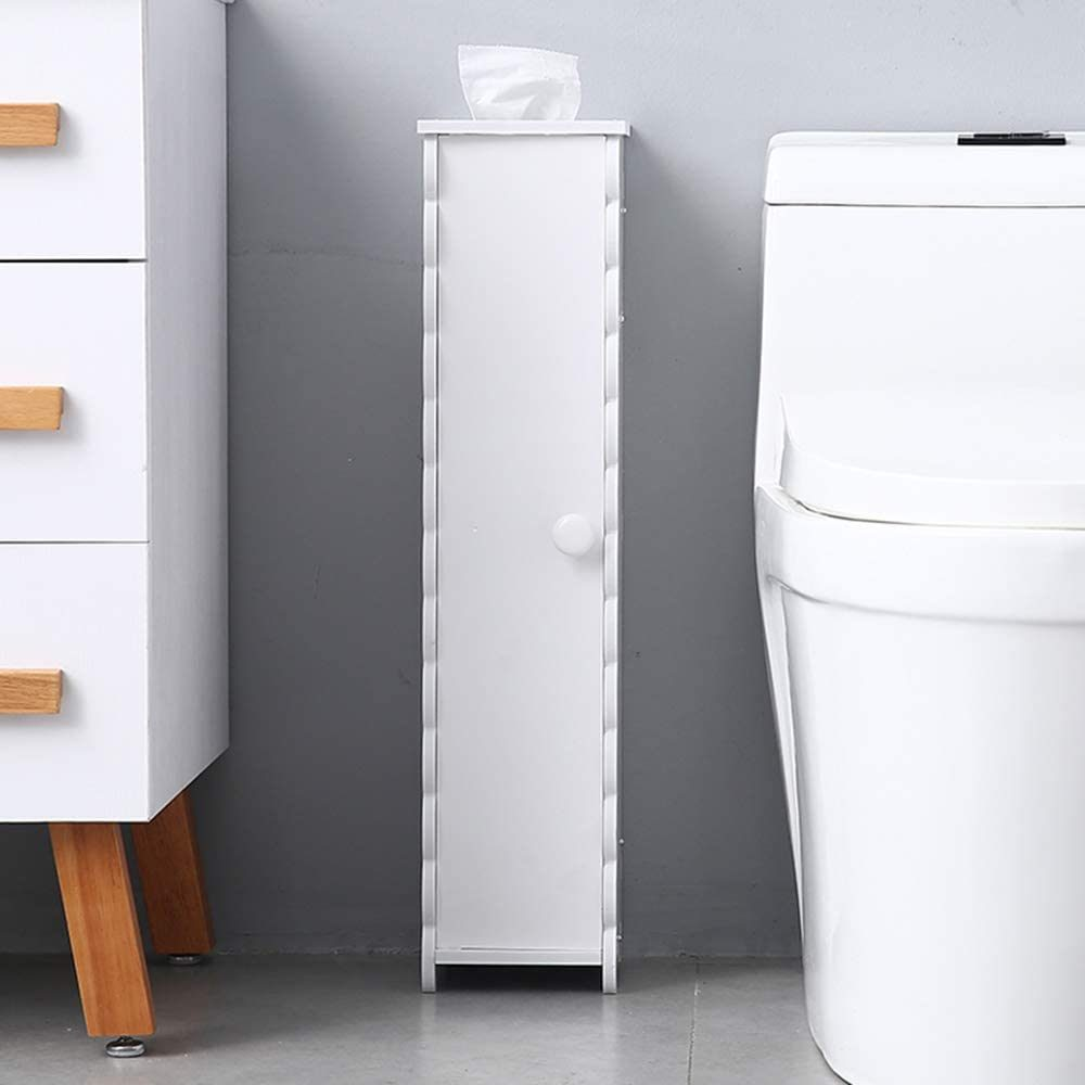 Narrow Cabinet Compact Toilet Tissue Storage Tower Shelf Waterproof Bathroom Linen Cabinet Toilet Paper Side Storage Organizer Corner Floor Cabinet with Doors and Shelves