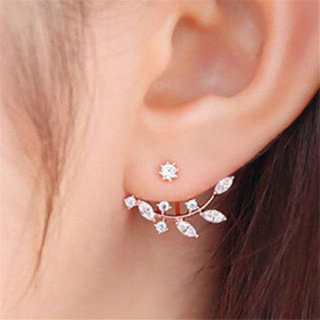 Pearl Pendants Bijoux Angel Wings Leaf Feather Flowers Stud Earrings