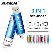 Load image into Gallery viewer, metal OTG 3 IN 1 Type-C pen drive 64GB flash usb memory 8GB pendrive 16GB 32GB usb flash drive 128GB OTG cle usb stick pen gift