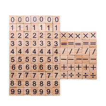 Load image into Gallery viewer, 100pcs/lot Wooden Scrabble Letters Wooden Alphabet Scrabble Black Letters And Numbers Digital Puzzle Toys for Kids Favors