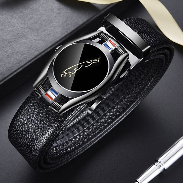 CARTELO Leather Belts for Men 3.5cm Width Sports car Brand Fashion Automatic Buckle Black Genuine Leather Belt Men's Belts