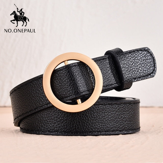 Women's Genuine Leather Punk Style Pin Buckle Belt