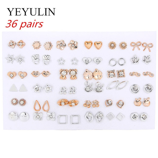 36Pairs/18pairs Earrings Mixed Styles Rhinestone