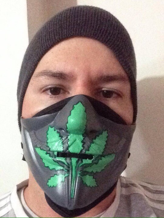 Weed Leaf Marijuana Anonymous Custom 1/2 Mask Hand Painted Pandemic Virus